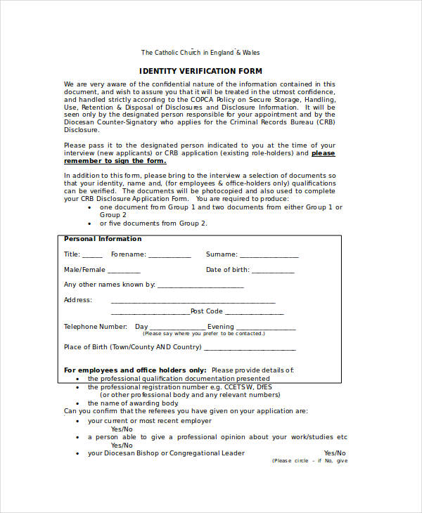 church identity verification form