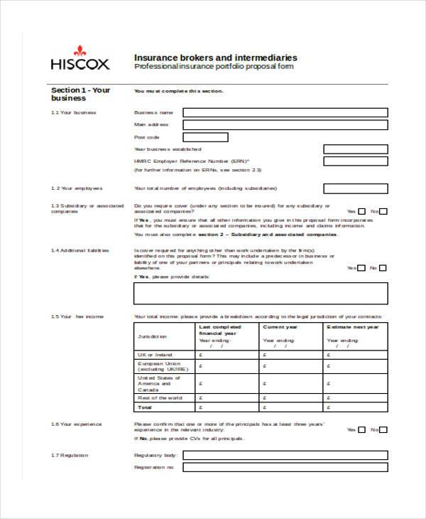 church insurance proposal form