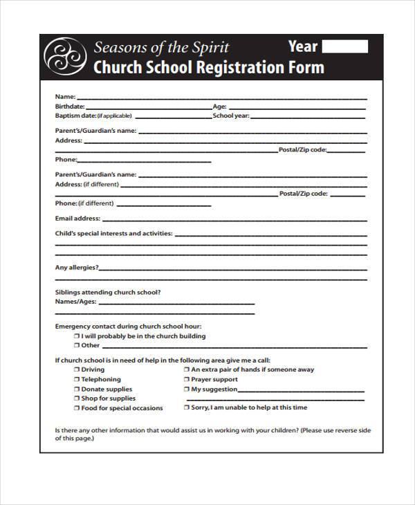 church membership registration form