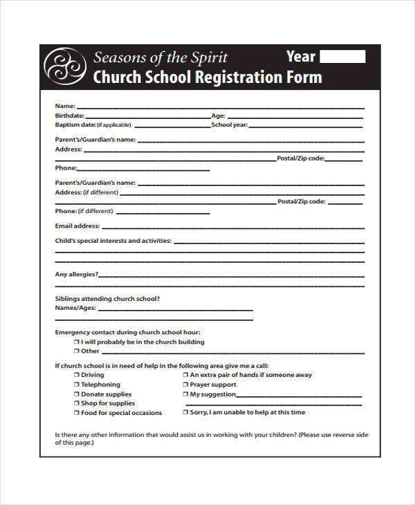 church school registration form