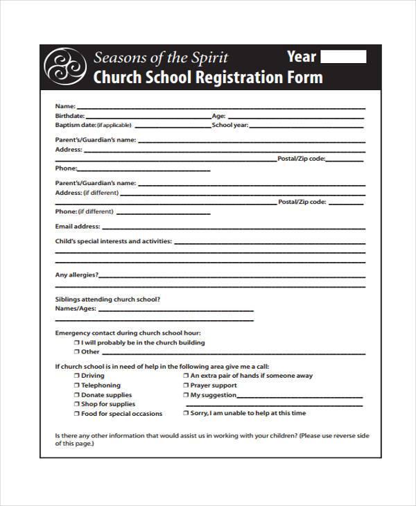 school registration forms template