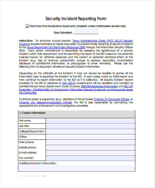 how to write incident report security Security incident statistics the security incident report, in aggregate, is the primary source of data that identifies past security events or situations occurring at a facility, or within a hospital system.