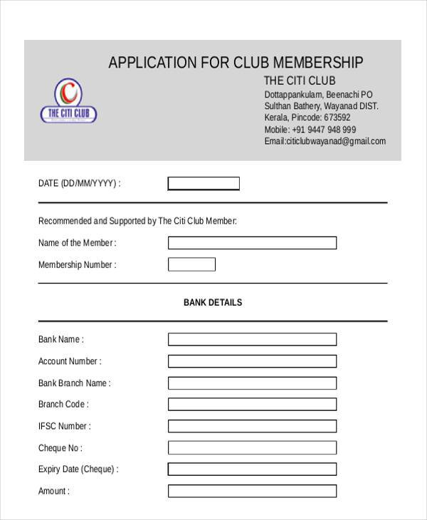 citi club membership application form
