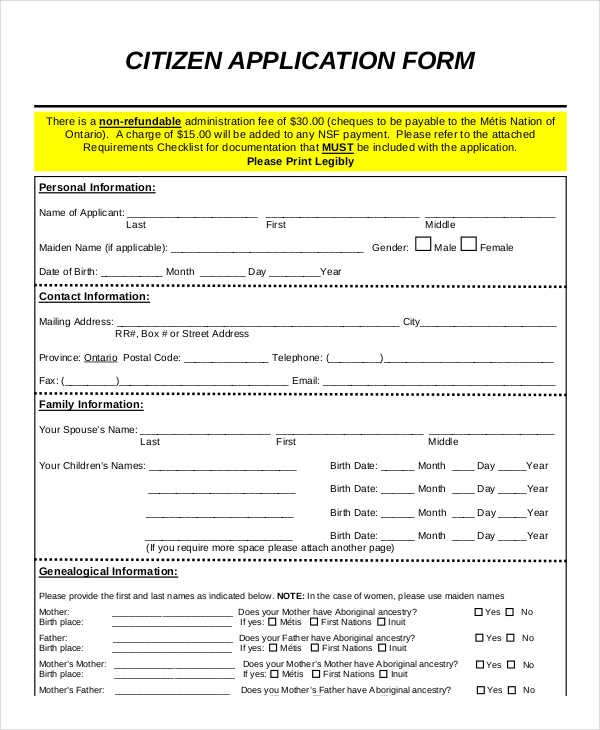 citizen application form free