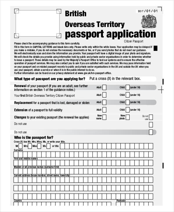 citizen passport application form
