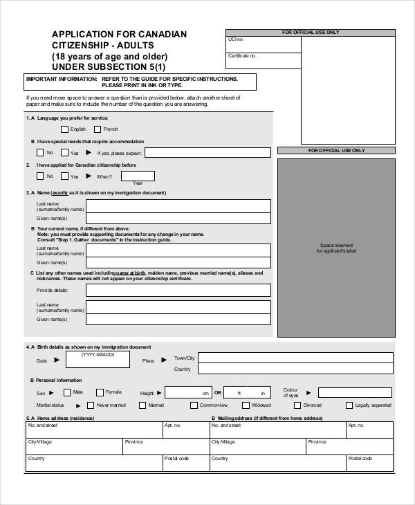 Sample Citizen Application Form  Free Sample Example Format