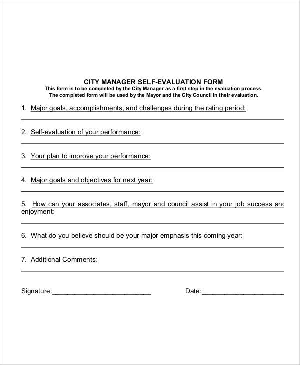 city manager self evaluation form