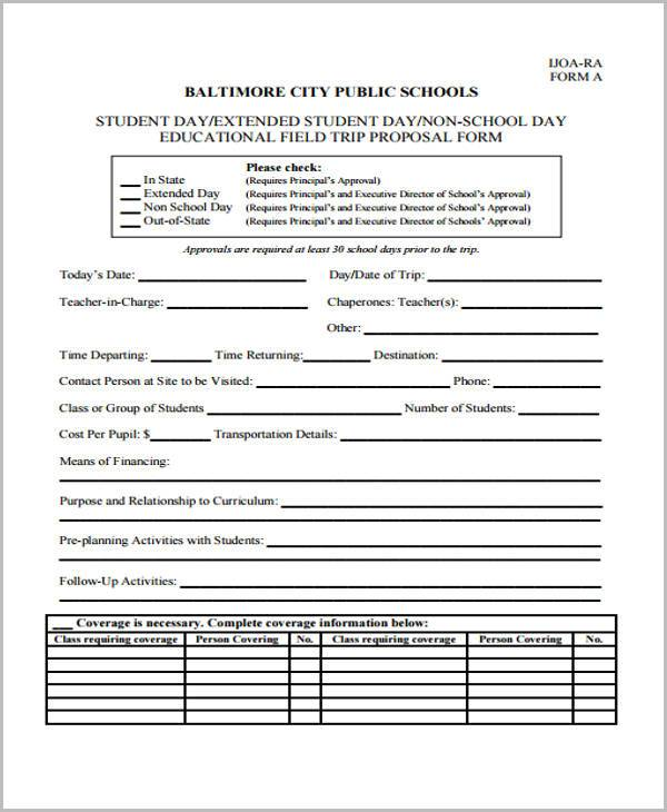 Field Trip Proposal Form Samples  Free Sample Example Format