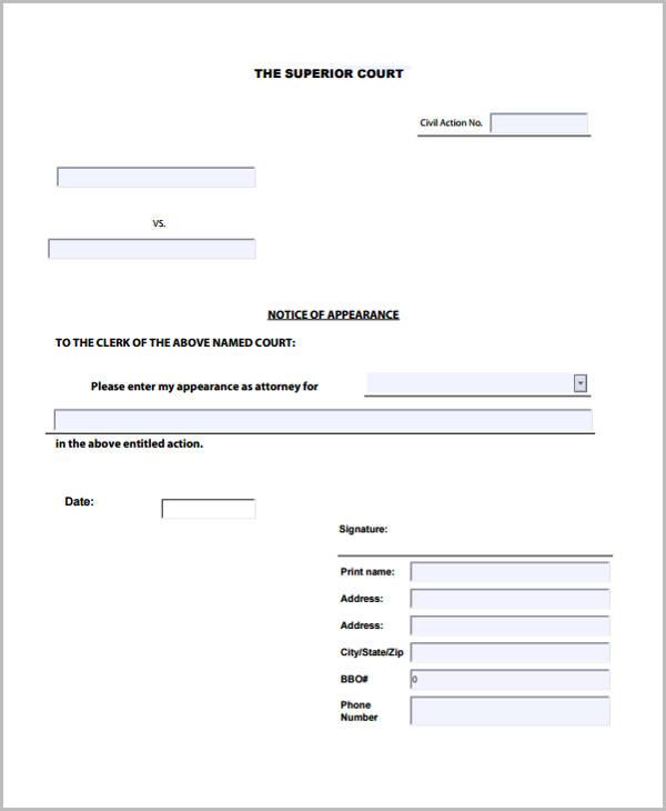 civil notice appearance form