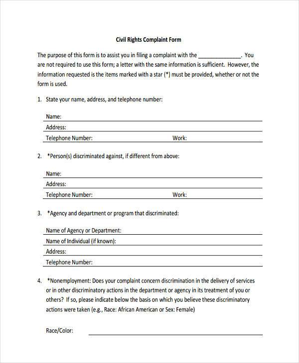 Civil Rights Complaint Form  Civil Complaint Template