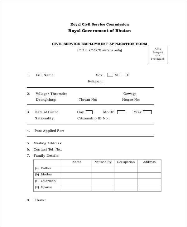 civil service application form