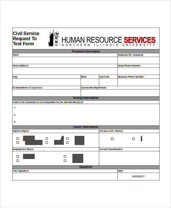 civil service request test form
