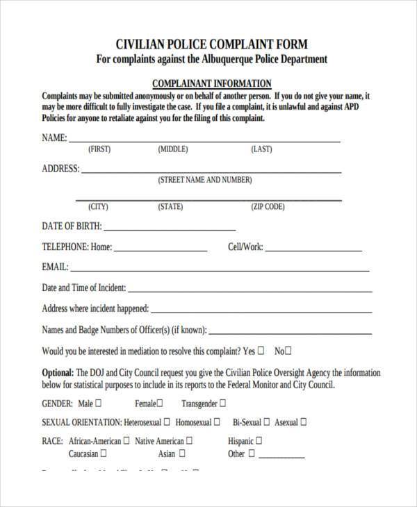 civilian police complaint form