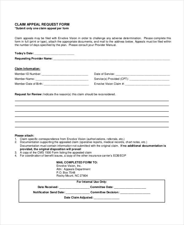 claim appeal request form
