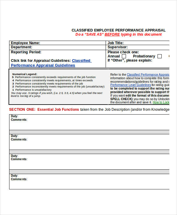 classified employee evaluation appraisal form