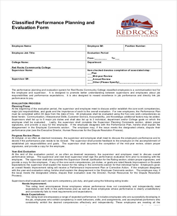 classified employee planning evaluation form