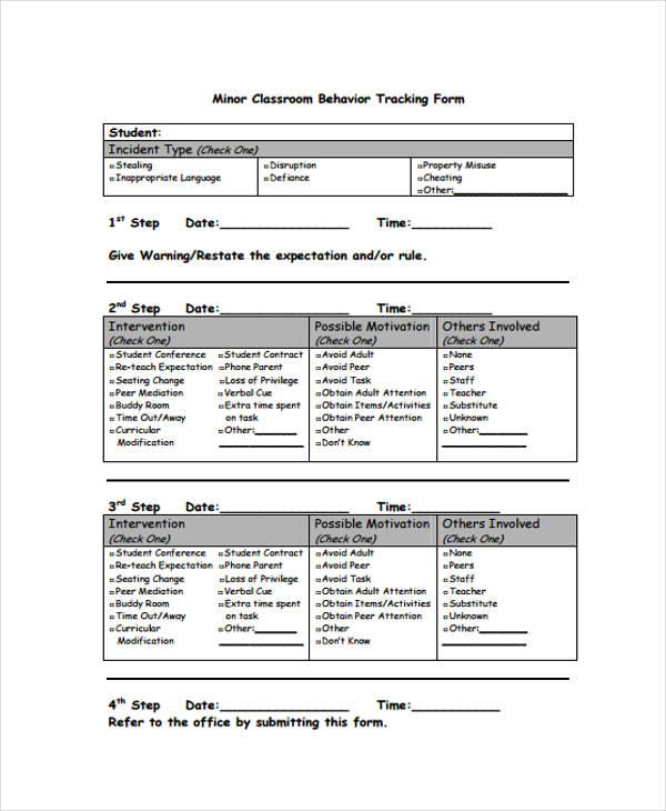 classroom behaviour tracking form