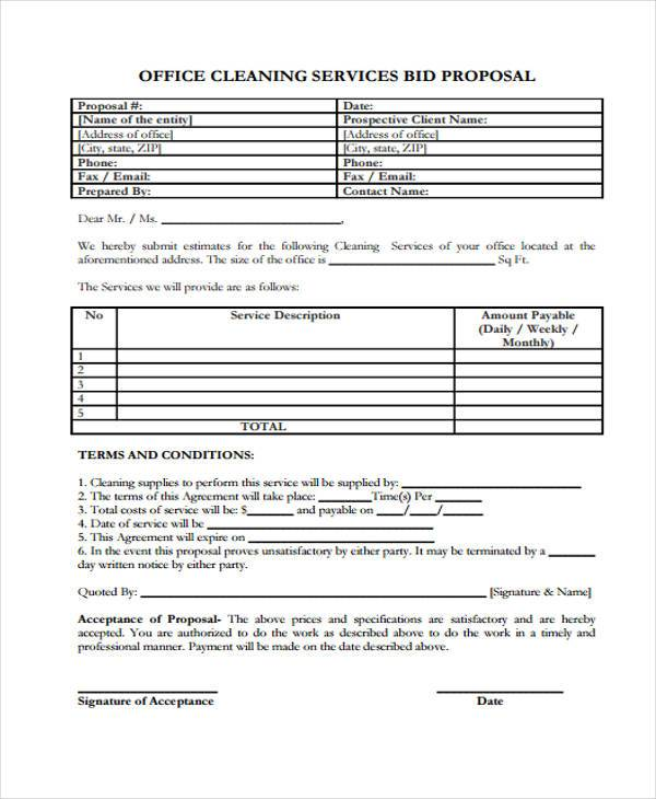 cleaning bid proposal form
