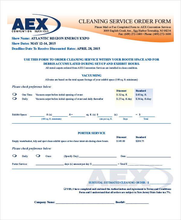 cleaning service order form