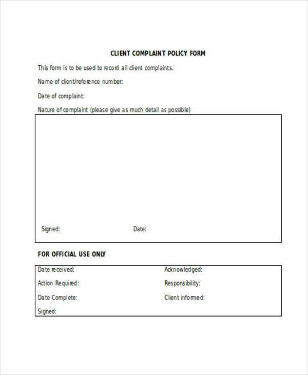 client complaint policy form