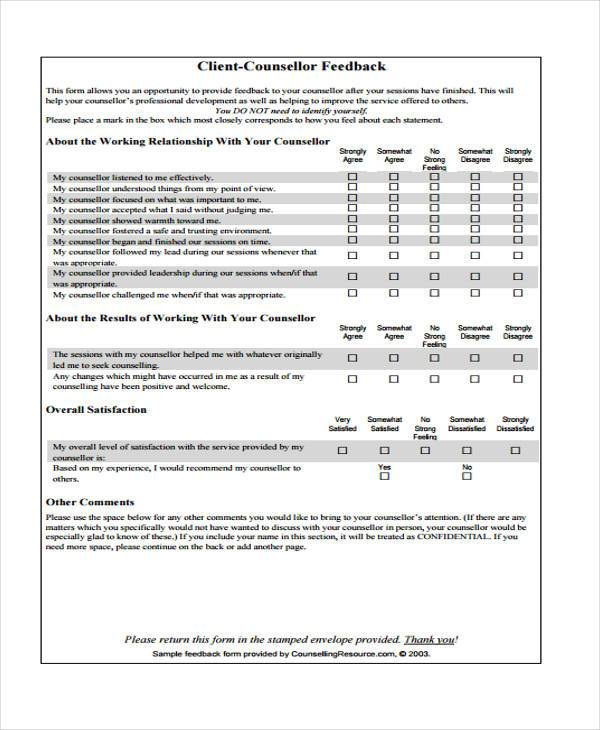client counsellor feedback form