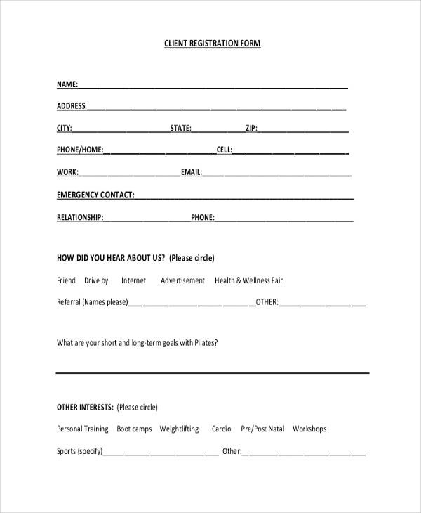 client emergency contact registration form