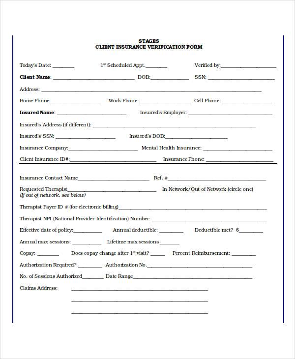 client insurance verification form