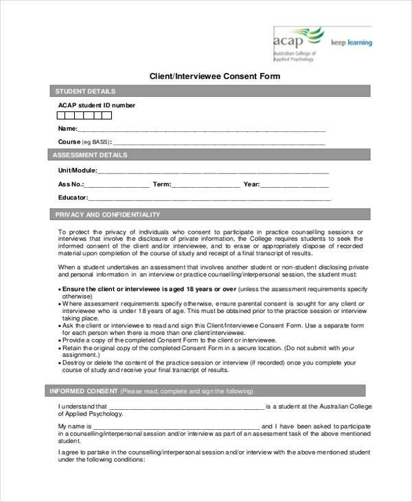 client interviewee consent form