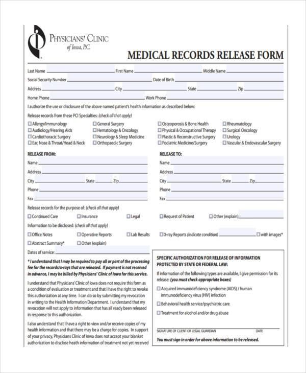 clinic medical records release form