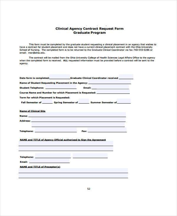 clinical agency contract request form