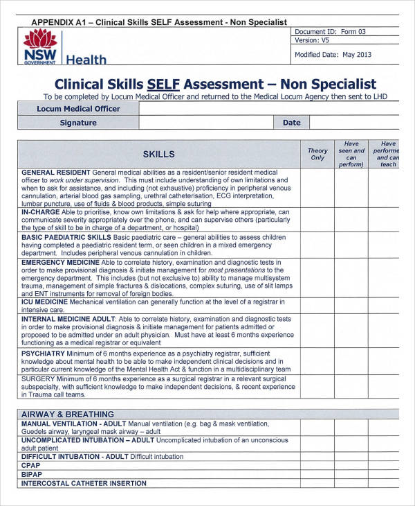 SelfAssessment Forms In Pdf