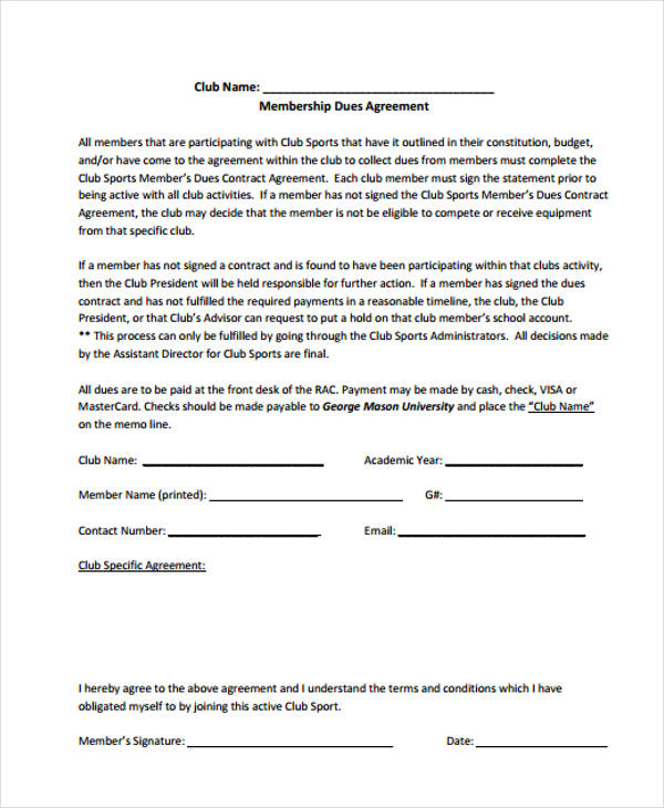 club sports contract agreement form