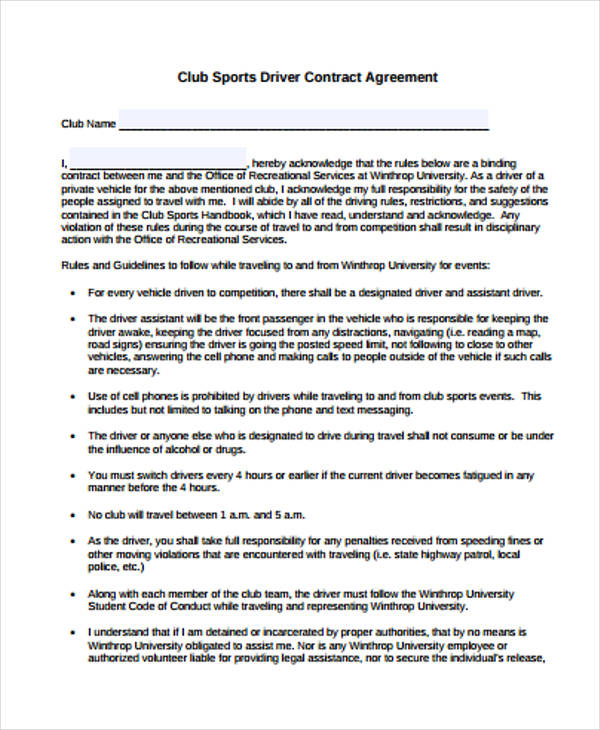 club sports contract agreement form1