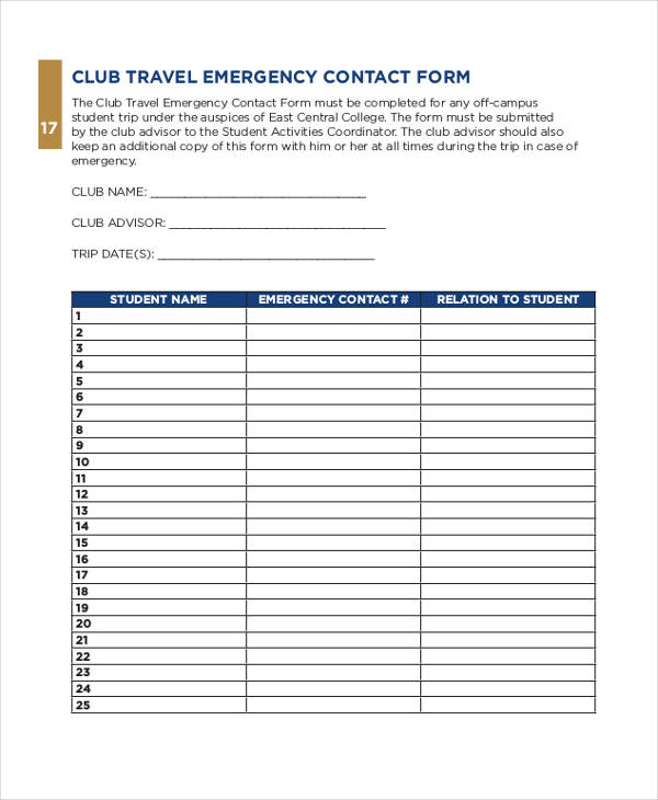 club travel emergency contact form