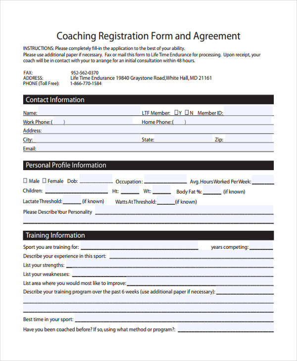 Coaching Contract Template Health Wellness Life Coaching Contract