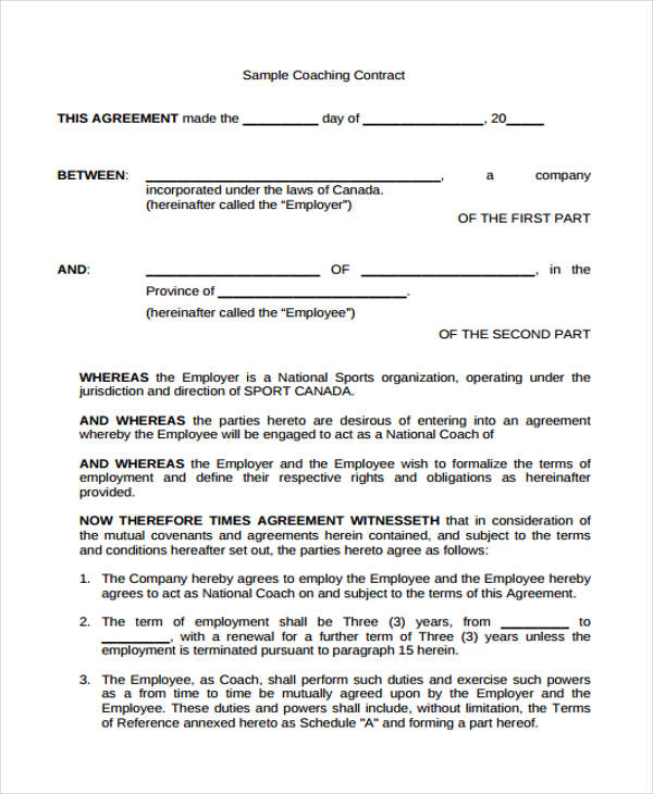Delightful Sample Coaching Contract Agreement Form