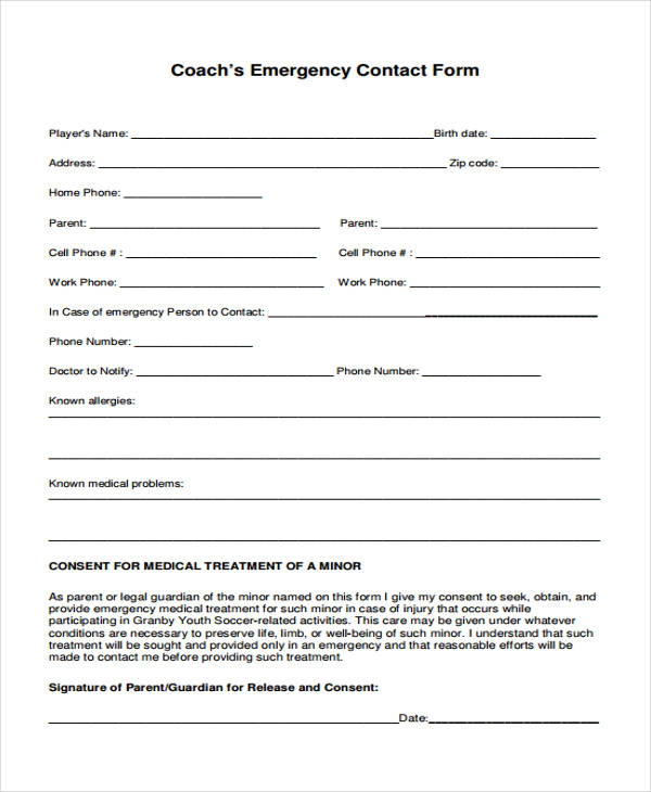 coachs emergency contact form