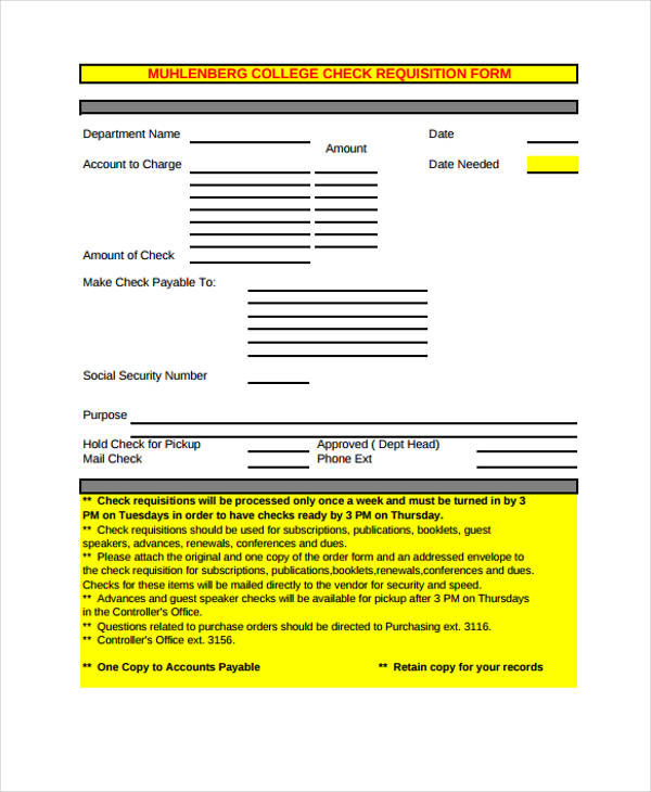 college check requisition form