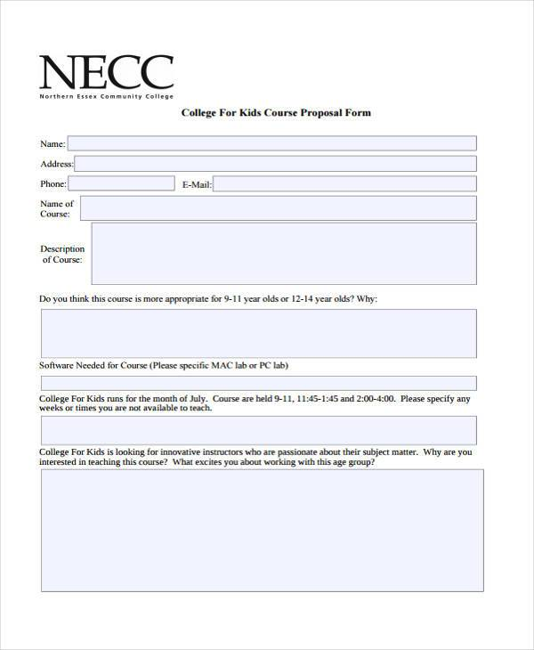 college course proposal form