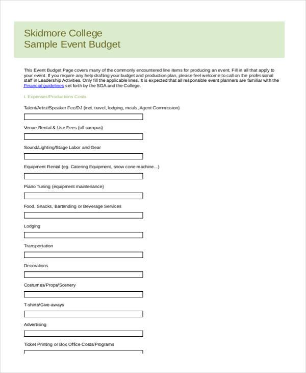 college event budget form