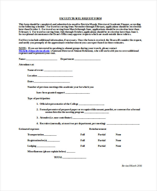 college faculty travel request form1