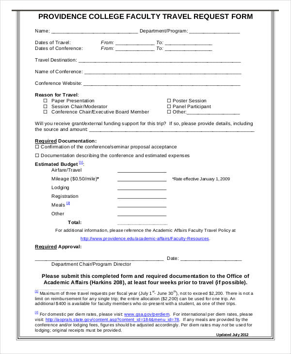 college faculty travel request form2