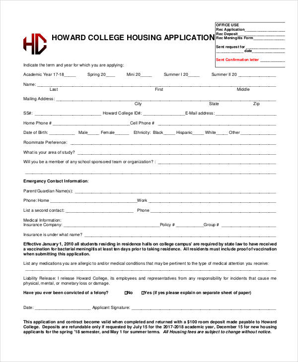 college housing application form