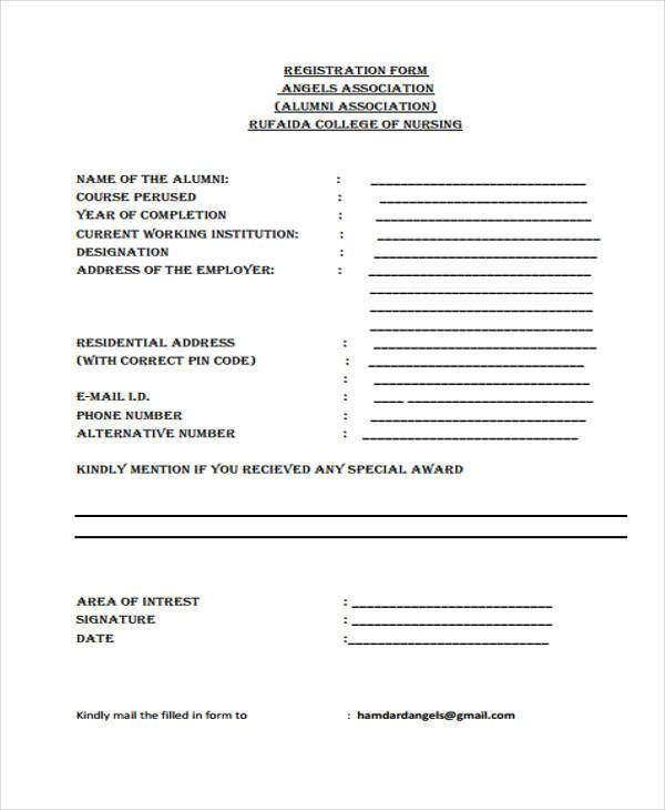 college nursing registration form