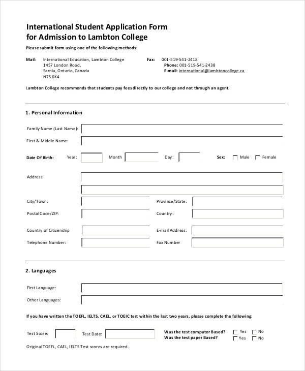 college student application form