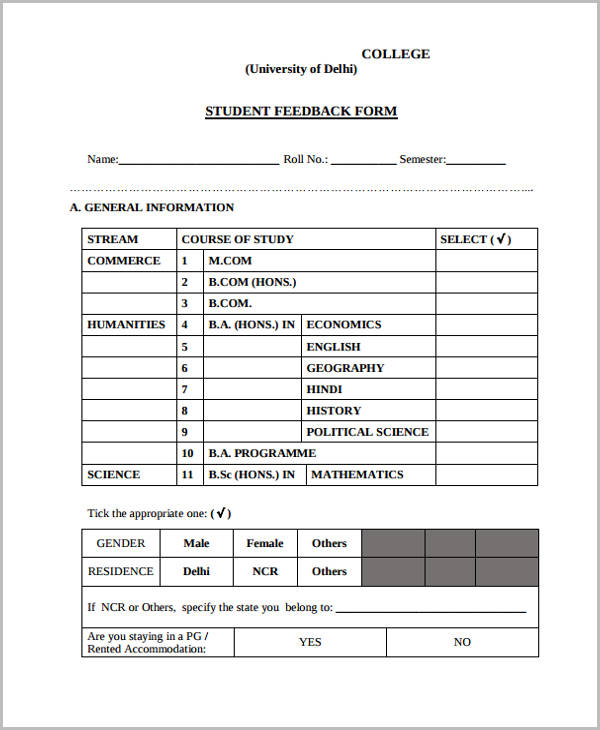 college student feedback form