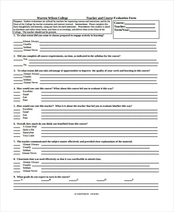 teaching evaluation form – Teacher Evaluation Form