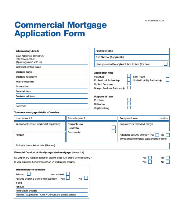 commercial mortgage application form