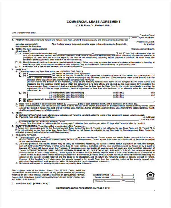 39 Sample Lease Agreement Forms – Sample Commercial Security Agreement Template