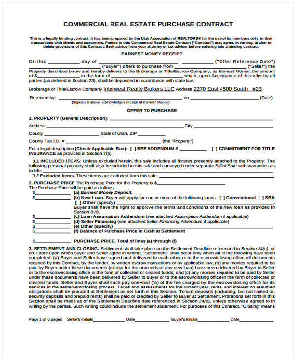 24 Purchase Agreement Form in PDF – Commercial Purchase Agreement